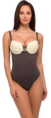Merry Style Damen Badeanzug Modell: V 900 (Braun/Ecru, Cup 100 D / 48)