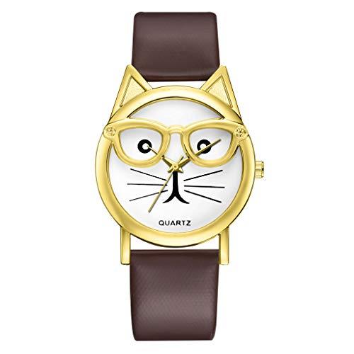 Damen Premium Qualität süße Brille Katze Frauen Analoge Quarz Zifferblatt Armbanduhr Carry Stone Mädchenuhr 2019 LEEDY
