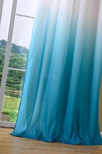 Schal blickdicht Vorhang Ösen Gardine Microsatin Farbverlauf Microfaser, 2 Stück 245×140, Türkis, 204252 - 5