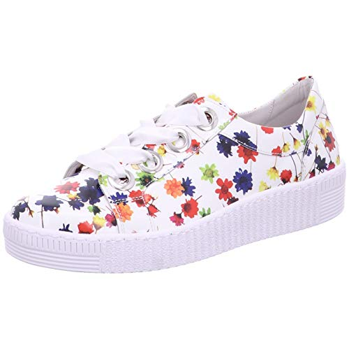 Gabor Damen Low-Top Sneaker 23.330.90, Frauen Halbschuh,Schnürschuh,Strassenschuh,Business,Freizeit,Weiss/Multicolor,41 EU / 7.5 UK