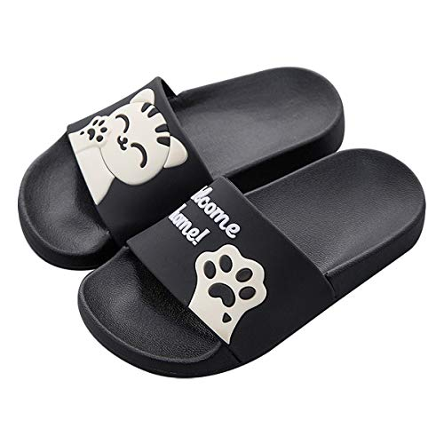 QZBAOSHU Family Slippers for Women/Men/Boys/Girls Summer Cute Cat Slides Sandals on Beach Bathroom Swimming Pool