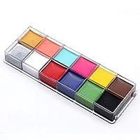 TEEROVA Face Body Paint Professional 12 Flash Colors Face Oil Painting Art Makeup Palette Set