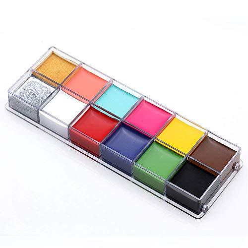 PEPECARE Gesicht Körperbemalung Professionelle 12 Flash-Farben Gesicht Ölgemälde Kunst Makeup Palette Set