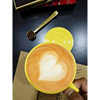 "Premium ceramic cup/saucer set - 220ml""Yellow"""