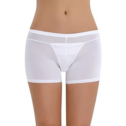 Kostüm Hauptstadt - YiZYiF Transparent Damen Pantys Unterwäsche Hot Pants Dessous Hipster Boxershorts Öffene Schritt Panties Reizwäsche Boy Shorts Weiß (Ouvert) One Size
