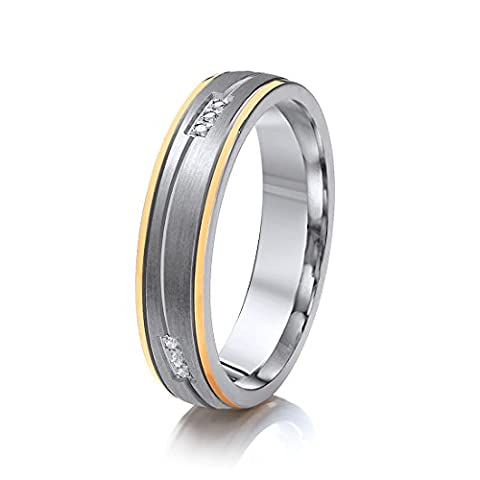 Theia 'His & Hers' Titanium Yellow Gold Colour, CZ, 5 mm Wave Design Ladies Ring - Size N