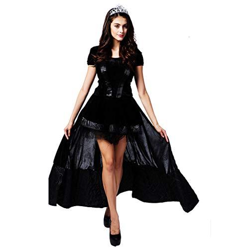 1-1 Halloween Kostüm Partei Schwarze Königin Kleid Klassische weibliche Vampirin Zombie Hexe Abendkleid des (Klassischen Weiblichen Kostüm)