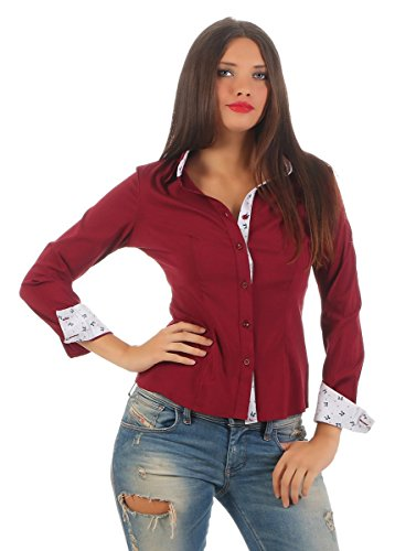 5830 Fashion4Young Taillierte Damen Langarm Businessbluse Damenbluse  Hemdbluse Business Stretch Bluse Citylook Weinrot
