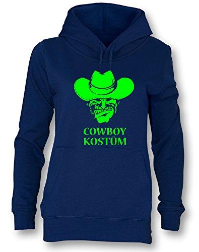 Angry Shirts Cowboy Kostüm - Damen Hoodie Navy - Neongrün in Größe XL