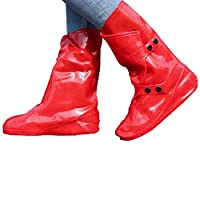 DUANGUOYAN Rain boots- Silicone Shoe Cover Waterproof Non-slip Thick Wear-resistant Bottom Men And Women Adult Rain Boots