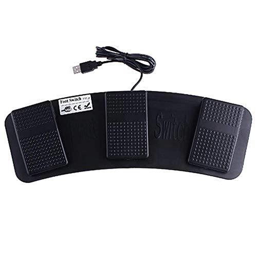 Ganquer Interruttore a Pedale 3 Buttons Tastiera Mouse Pedale Pianoforte Control Azione Gioco PC Triplo USB