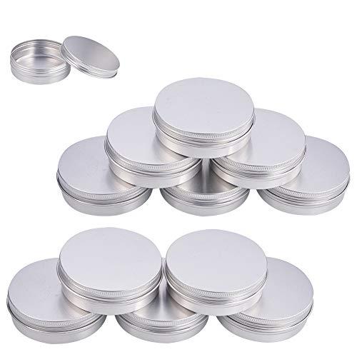 BENECREAT 12 Pack 100ml Latas de estano con Tapa de Rosca, latas Redondas de Aluminio, Tapa con Tornillo, contenedores - Ideal para almacenar Especias, Dulces, te o Regalos (Platinum)