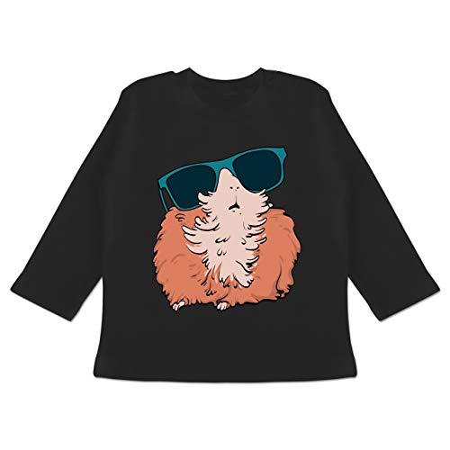 Tiermotive Baby - Meerschweinchen mit Sonnenbrille - 6-12 Monate - Schwarz - BZ11 - Baby T-Shirt Langarm