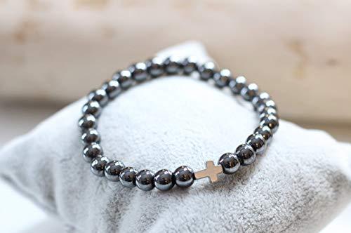 Edles Perlenarmband für Herren in anthrazit grau mit Kreuz in hellgrau Perlenarmband Herren Damen modern Bracelet Armband dehnbar
