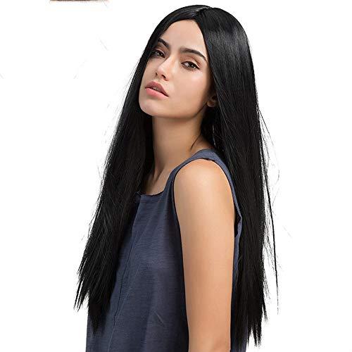 Perruques Femmes Mode Synthétique Noir Moyen Parting Long Perruque Naturelle Féminine Multi-Couche Cheveux Raides (BXL109)
