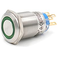"heschen 19mm (3/4"") Metal pulsador momentáneo Botón Interruptor 24VDC Eagle Eye verde LED IP675A 220VAC"