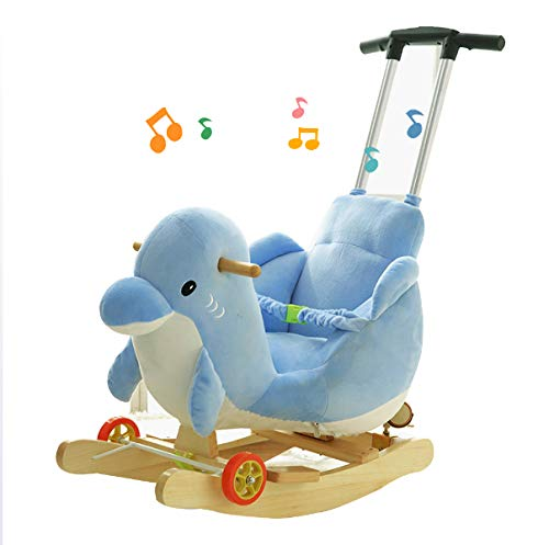 JTYX Children's Rocking Horse Baby Rocking Chair Solid Wood with Music Rocking Cradles Children's Birthday Gift JTYX ★ Convenient and practical: The product allows the baby to exercise, grasp, climb, kick, squat, shake, etc., so that the baby can play easily. ★Removable design: The seat cover is detachable, easy to clean, safe in material and does not fade. Made of solid wood and plush, it is more comfortable and safer to sit ★ Heightening base: Scientific anti-rolling, widening and heightening the base to keep the swing amplitude safe. 1