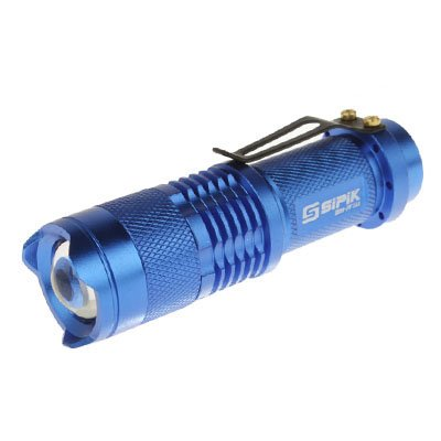 SK68 Mini Focus Flashlight, 1 Mode, Cree Q5 New LED, White Light, with Clip (Red) Yiki (Colore : Blue)