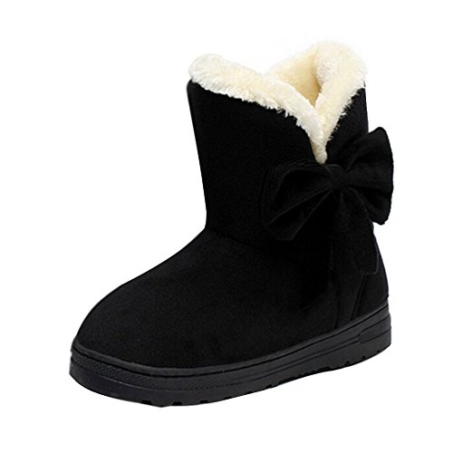 Minetom Damen Schuhe Bow Tie Stiefeletten Winter Fur Boots Winterstiefel Warm Casual Flats Bequeme Boots ( Schwarz EU 38 ) -