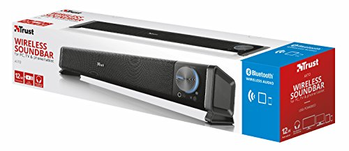 Trust Asto PC Soundbar Speaker for Computer, Laptop and TV, 12 W, USB Powered, Black/Silver