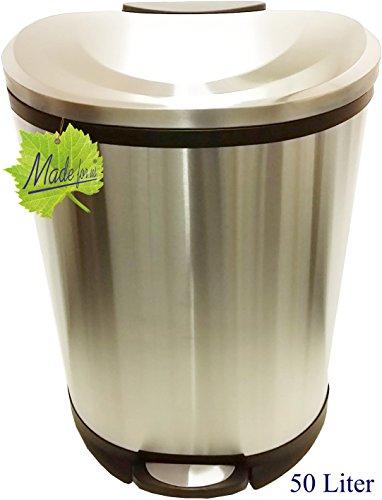 Made for us 50 L Edelstahl Tret-Abfalleimer Mülleimer 50 Liter Abfall-Behälter Treteimer mit Absenkautomatik Mülltonne für gelber-Sack Grüner-Punkt. Das original