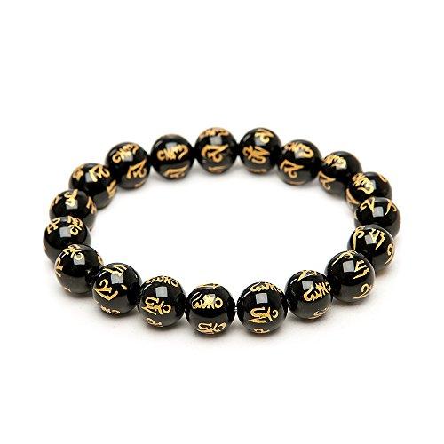 Om Mani Padme Hum Nepal Gebet Perlen auf Kristall Gewinde - Gold Nepal Armbänder