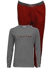 Calvin Klein Conjunto Pijama De Franela Chicos Camiseta Manga Larga Logo Metálico, Burdeos/Gris