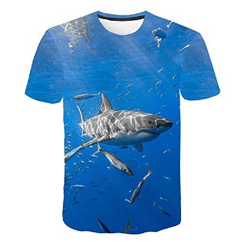 Frauen/Männer 3D Kurzarm T-Shirt Druck 3D Tees Tops Ocean Shark Druck M (Street Sharks Kostüm)