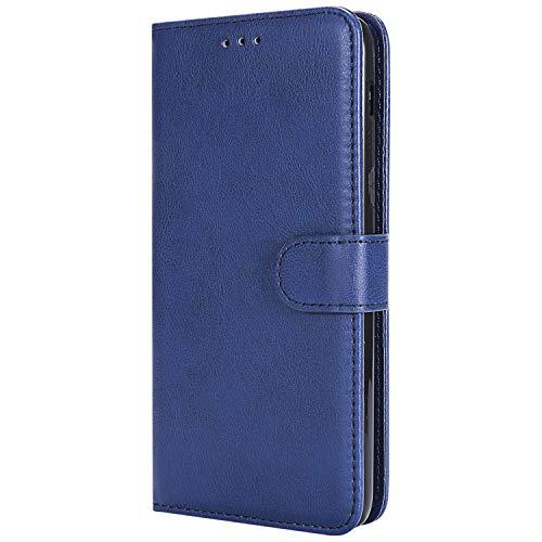 Lomogo Samsung Galaxy J8 Hülle Leder, Schutzhülle Brieftasche mit Kartenfach Klappbar Magnetverschluss Stoßfest Kratzfest Handyhülle Case für Samsung Galaxy J8 2018 - LOKTU30185 Blau