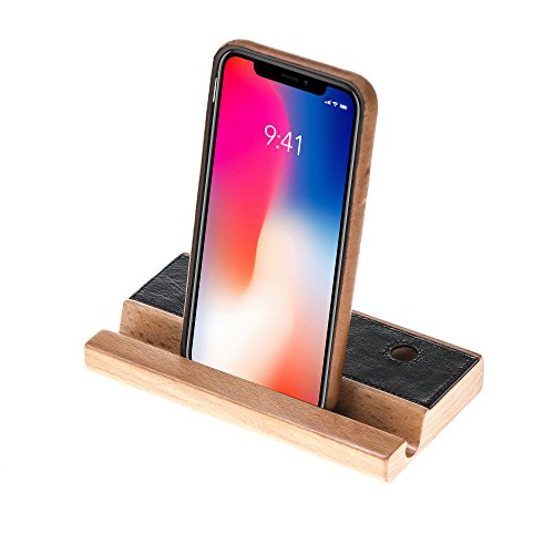 Schwarze Leder-handy-halter (Solo Pelle Handy Halterung Smartphone Ständer - Universal Halter für iPhone Samsung iPad Tablet u.a. - Tisch Stand Dock Holz und Leder in Schwarz)