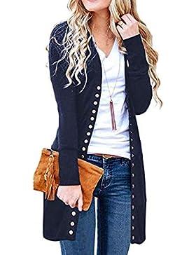 MYMYG Mujer Invierno Cardigan Jersey de Punto Suelto Color Sólido Chaqueta Botón Suéter para OtoñO Invierno Pullover...