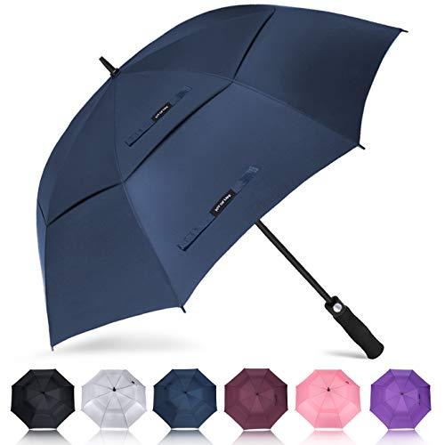 Grande ombrello zomake, 157cm ombrello da golf antivento per 2 persone, automatico (blu marino)