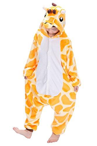 Imagen de tuopuda kigurumi pijama animal entero unisex para niños con capucha ropa de dormir traje de disfraz para festival de carnaval halloween navidad s = 90  100 cm height, jirafa amarilla