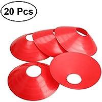 VORCOOL 20pcs Sport Kegel Fußball Fußball Rugby Runde Kegel Marker Discs (Rot)
