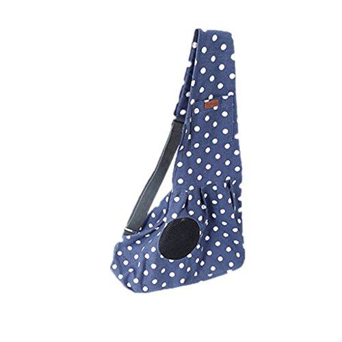 MagiDeal Umhängetasche für Hunde Katzen Haustiere, Einzelne Tragetasche Schultertasche Rucksack Transporttasche Reise , unter 6KG - Blau Punkt