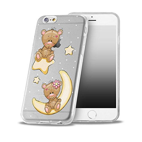 OOH!COLOR® Design Case für iPhone 7 mit Motiv MPA147 weiß Punkte modisch stilvoll Silikon Hülle elastisch Schutzhülle Transparent Case Luxus Cover Slim Etui OKI007 Teddybär