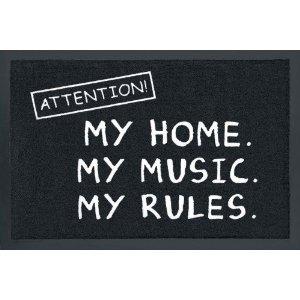 fusabtreter Fussmatte Attention ! My Home My Music My Rules ! Fußabtreter Türmatte Fußmatte Schmutzmatte Schnutzfangmatte
