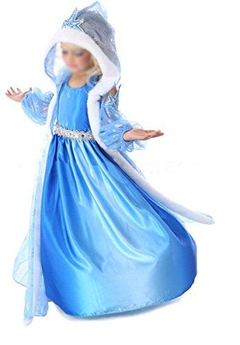 zessin Schneeflocken Tüll Kostüm Karneval Verkleidung Party Kleid Cosplay Hochzeit Blumenmädchenkleider Faschingskostüm Festkleid mit Kapuze Weinachten Halloween Fest Eiskönigin (Schneeflocke Halloween Kostüme)