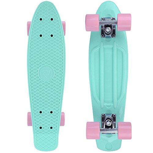 city-rider-skateboard-mini-cruiser-retro-per-bambini-e-bambine-57-cm-colori-menta-lavanda-mint-perlr