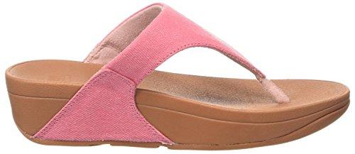 FitFlop Lulu Toe-Thong Shimmer-Denim, Sandales Bout Ouvert Femme Pink (Pink Shimmer-Denim)