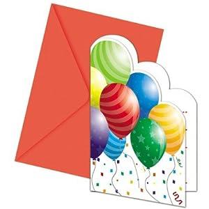 Procos - Invitaciones y sobres con globos grandes, multicolor, PR84227