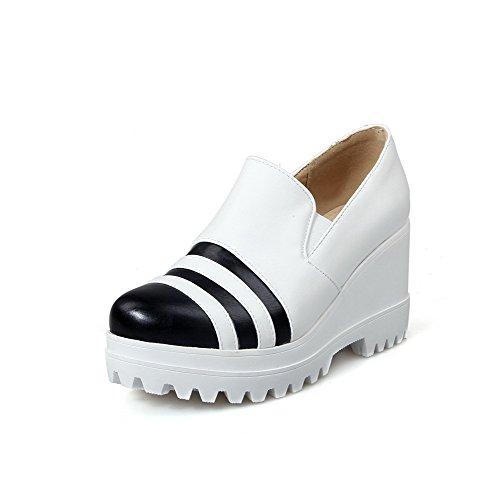 VogueZone009 Femme Tire Fermeture D'Orteil Rond à Talon Haut Pu Cuir Couleurs Mélangées Chaussures Légeres Blanc