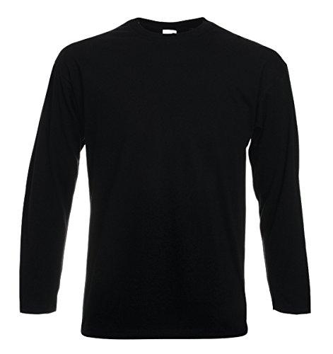 T-shirt maniche lunghe cotone uomo maglietta manica lunga fruit of the loom valueweight maglia da lavoro, colore: nero, taglia: xxl