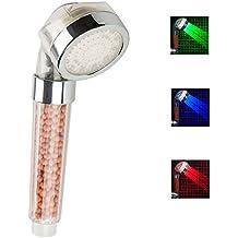Alcachofa de ducha LED con 3 colores. Cabezal de ducha led con filtro iónico y ducha alta presión. Ducha luz led con colores, según temperatura del agua. Ideal para cuidado de piel y cabello.