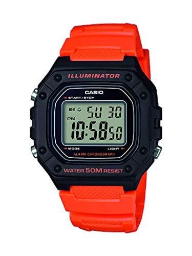 casio orologio digitale quarzo uomo con cinturino in resina w-218h-4b2vef