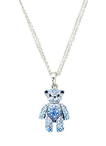 PlayBling Designer Silver Rhodium Plated Necklace Exquisite Mini Teddy Bear Pendant with Movable Arms and Head with Swarovski Crystals -