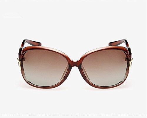 NHDZ Sonnenbrille Lady Neue Polarisierende Sonnenbrillen, Trend, Persönlichkeit, Retro Polaroid Rückspiegel, Big Frame Brille, Helles Schwarz, Tan