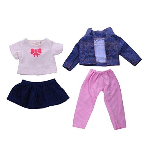 Gazechimp 2 Sets Puppen Herbst Kleidung - T-Shirt & Minirock / Jeans Jacke & Hosen - Puppe Outfit für 18'' American Girl Puppe