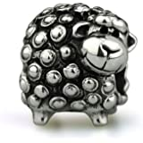 OHM Curly Sheep Charm Bead 925 Sterling Silver Compatible with most European Charm Bracelets