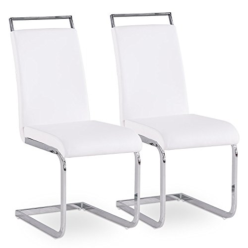 2er Set Esszimmerstuhl Küchenstühle Polsterstuhl Freischwinger Stuhlgruppe (Weiß) (Weiß Polsterstuhl)